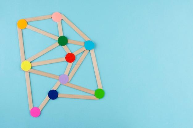 Concetto di rete piatta con punti colorati