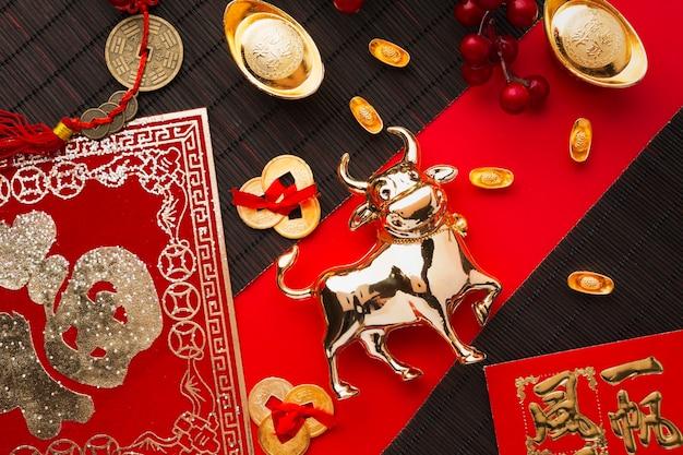 Плоский новый год китайский 2021 золотой бык