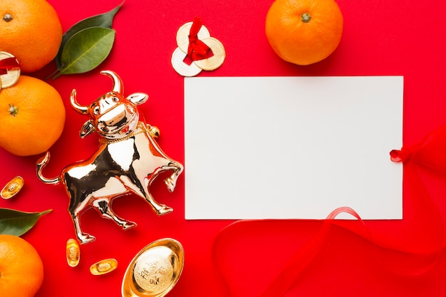 Flat lay new year chinese 2021 golden ox