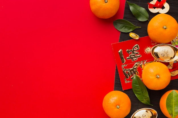 Flat lay new year chinese 2021 oranges