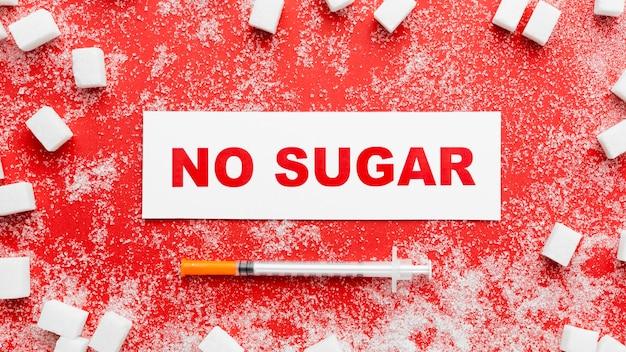 Flat lay no sugar message