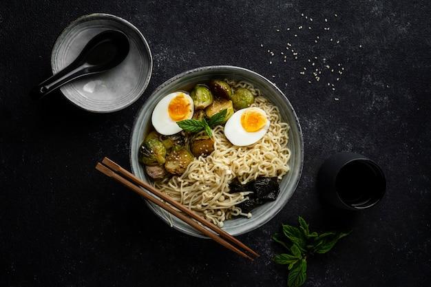 Flat lay noodles in a bowl arrangement
