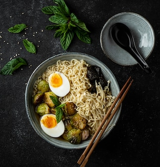 Flat lay noodles in a bowl assortment