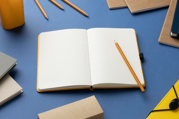 Flat lay notebook with to do list on desk