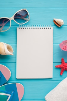 Flat lay notebook with summer concept