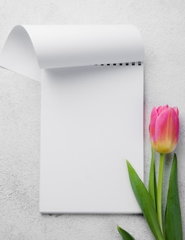 Flat lay notebook with tulips