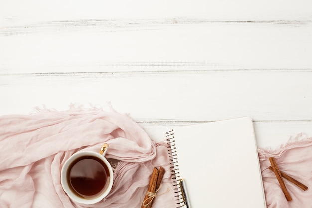 Flat lay notepad template with tea concept