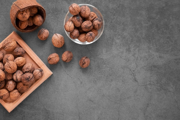 Flat lay of nuts arrangement concept