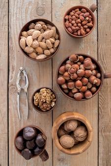 Flat lay of nuts arrangement