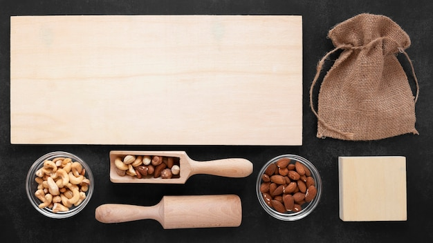 Flat lay of nuts concept with copy space