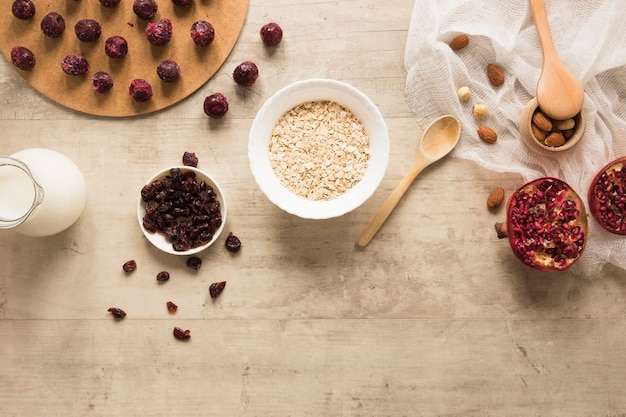 Flat lay oats bowl with dried fruits