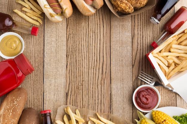 Плоская планировка американской еды с копией пространства