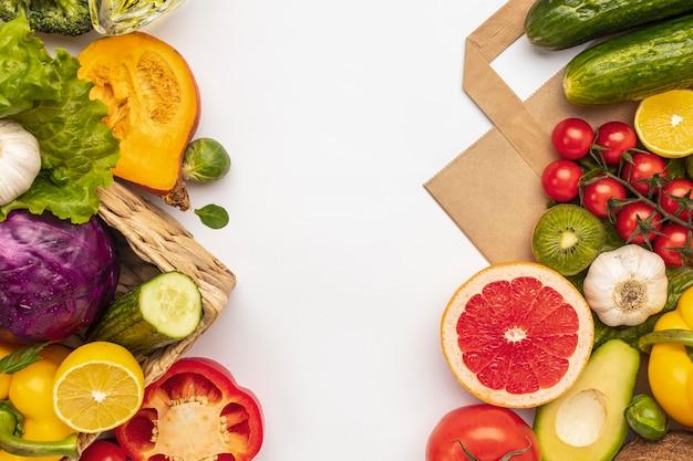 Плоская планировка ассортимента овощей