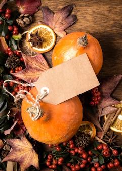 タグ付きの秋要素配置のフラットレイアウト