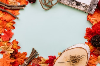 Flat lay of autumn leaves frame