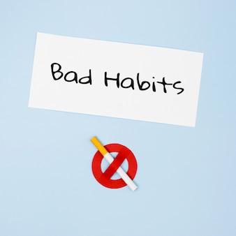 悪い習慣の概念のフラットレイアウト