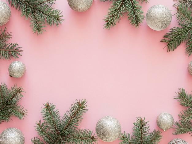 아름 다운 크리스마스 컨셉의 플랫 누워