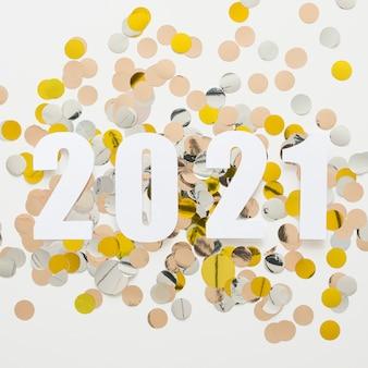 美しい新年のコンセプトのフラットレイ