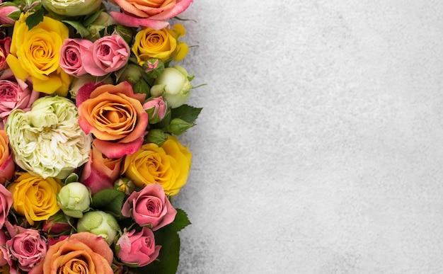 Плоская планировка красиво распустившихся цветов с копией пространства