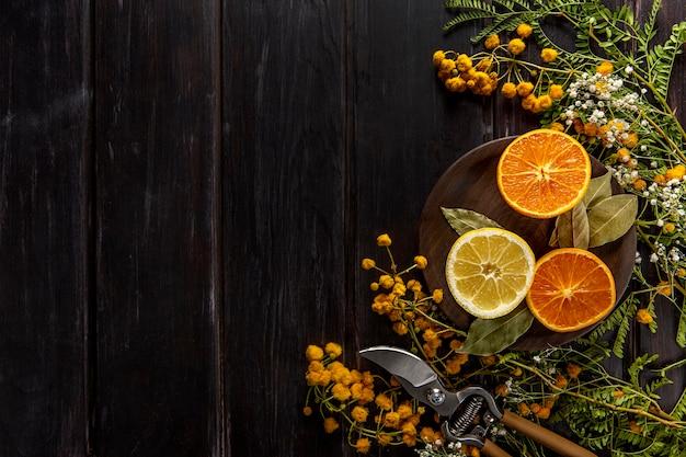 コピースペースと柑橘系の果物のフラットレイアウト