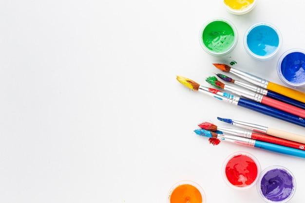 Плоская планировка красочной акварелью с копией пространства