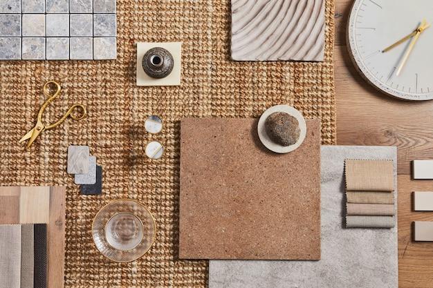 Плоская планировка креативной композиции мудборда архитектора с образцами зданий, оранжевой тканью и натуральными материалами, а также личными аксессуарами. вид сверху, шаблон.