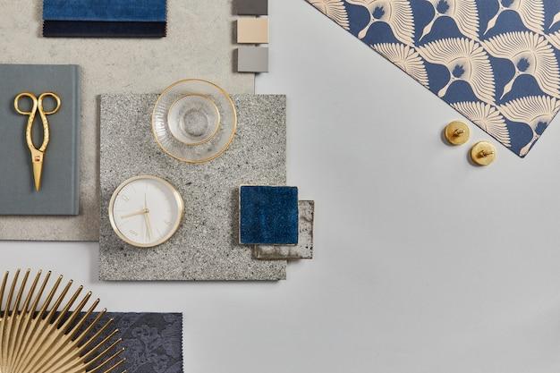 建物、テキスタイル、天然素材、パーソナルアクセサリーのサンプルを使用した、クリエイティブな建築家のムードボード構成のフラットレイ。上面図、灰色の背景、テンプレート。
