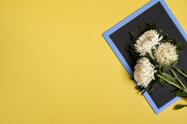 Плоская планировка нежного красивого стильного букета цветов астры на пустой пустой доске с пространством для текста, изолированного на желтом фоне