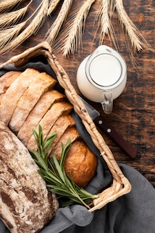 Плоская планировка вкусного хлеба