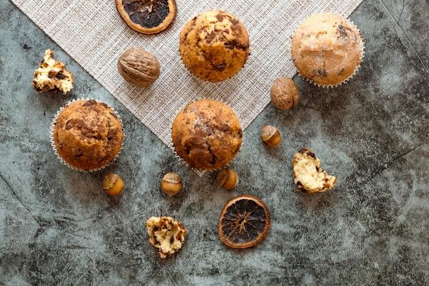 Плоская планировка вкусных кексов