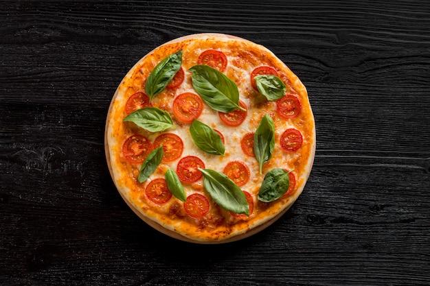 おいしいピザのコンセプトのフラットレイアウト