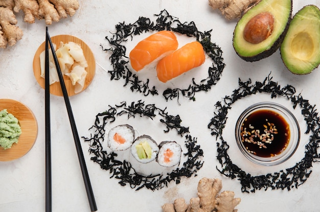 美味しいお寿司のコンセプトのフラットレイアウト