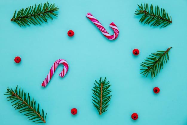 파란색 표면에 전나무 가지, 사탕 지팡이 및 크리스마스 열매의 평평한 누워