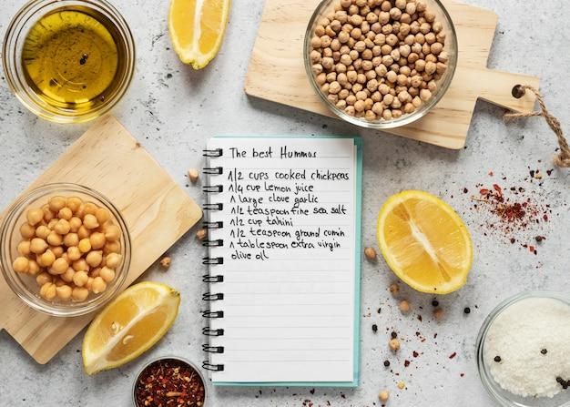 ひよこ豆と柑橘類を使った食材のフラットレイ