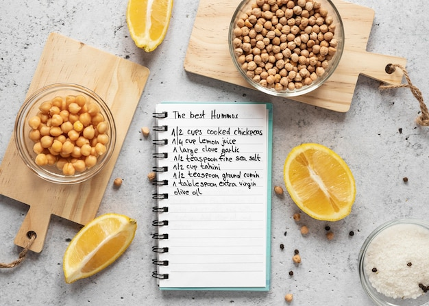 ひよこ豆とレモンを使った食材のフラットレイ