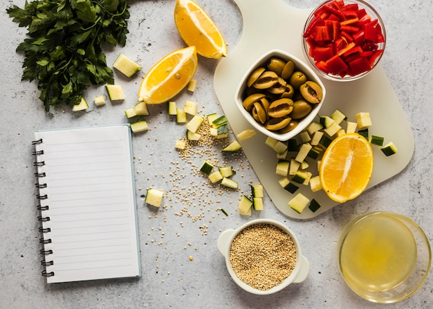 Плоская планировка пищевых ингредиентов