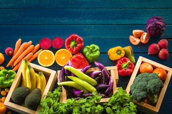 Flat lay of fresh  fruits and vegetables , Different fruits and vegetables for eating heal