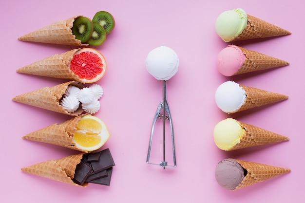 Плоский набор вкусов мороженого