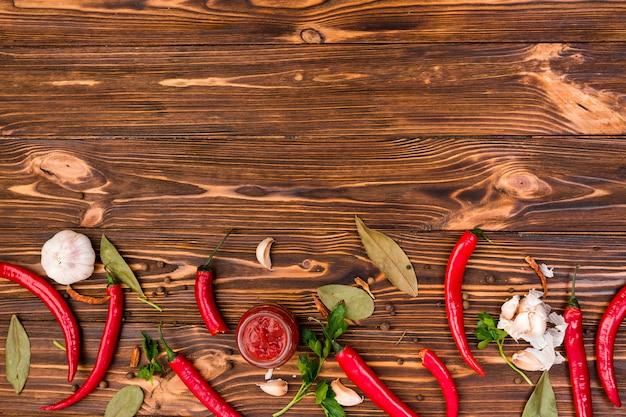 Плоская планировка мексиканской кухни с copyspace