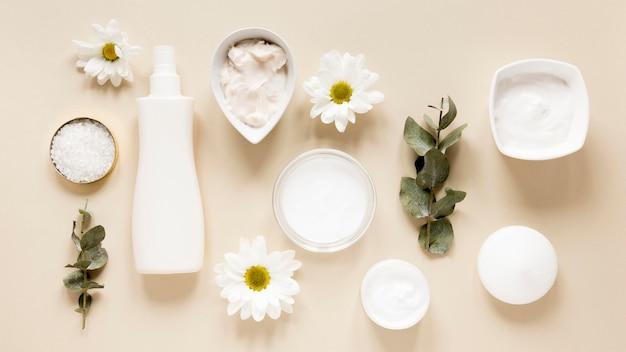 自然化粧品のコンセプトのフラットレイアウト