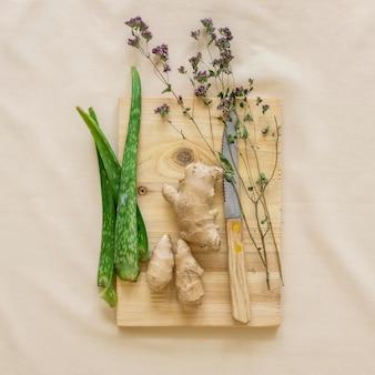 Плоская планировка органических лекарств с имбирем