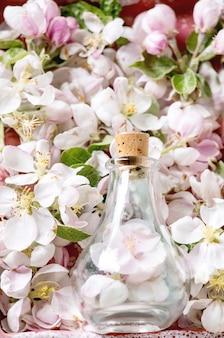 Плоская планировка весенних цветущих цветов и лепестков яблони, стеклянная бутылка с цветами и пробкой. концепция цветочного аромата духов. копировать пространство