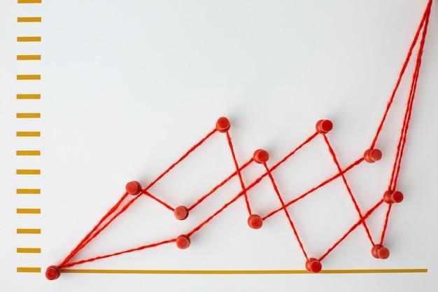 チャート付きの統計プレゼンテーションのフラットレイ