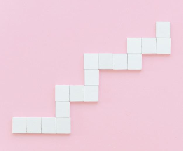 階段の木製ブロックのフラットレイアウト