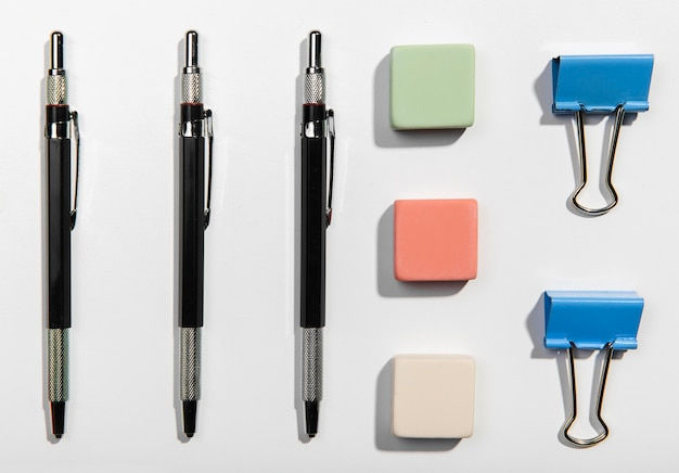 Flat lay office accessories knolling concept