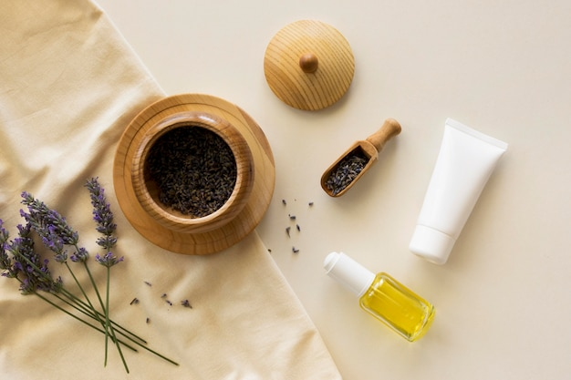 Flat lay oils and cream beauty and health spa concept