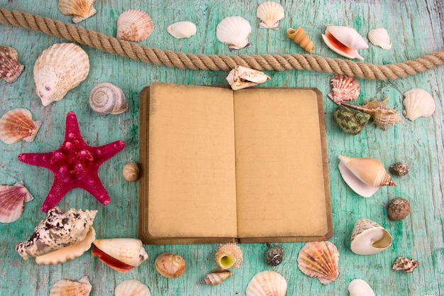 Flat lay old mock up notebook aand collection of sea shells, summer background