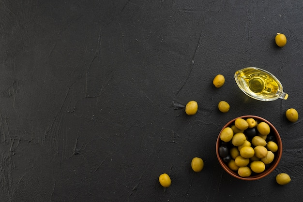 Flat lay olives with copy space background