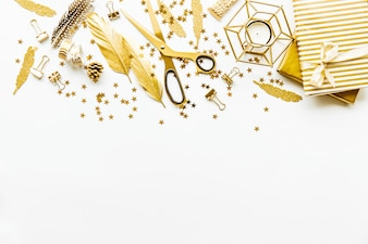 Flat Lay on White Background with Golden Deco