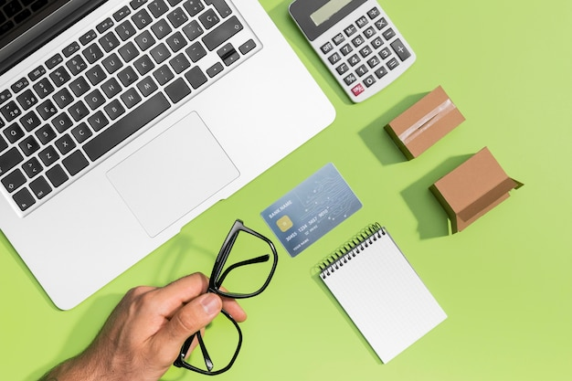 Flat lay of online shopping with copy space